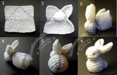 Make a bunny with kids - first knitting projects Sticka en KANIN Crochet Diy, Crochet Crafts, Yarn Crafts, Crochet Projects, Diy Projects, Simple Knitting Projects, Diy Crafts, Homemade Crafts, Loom Knitting