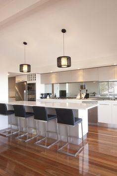 White kitchen, Mirror Tiles, need to add waterfall Basic Kitchen, New Kitchen, Kitchen Dining, Kitchen Ideas, Kitchen Lamps, Kitchen White, Kitchen Layout, Kitchen Furniture, Furniture Design