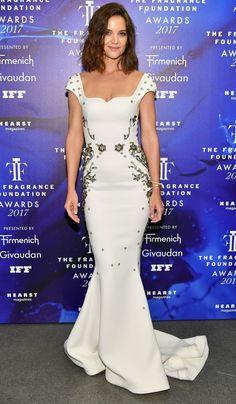 cf76bd04b67 Katie Holmes in a white Zac Posen dress Elie Saab