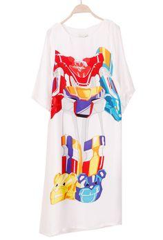 White Short Sleeve Robot Print Loose T-Shirt - Sheinside.com