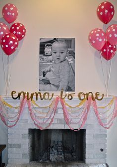 Girl First Birthday Party - loved the diy photo party hats!