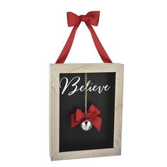 """""""Believe"""" Holiday Shadowbox Plaque with Red Ribbon and Jingle Bell"""