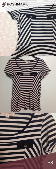 Striped Peplum Top Medium Adorable!! Buttons give a nautical look.  Has little belt loops.  Does not come with a belt looks good with or without a belt. Monteau Tops Blouses