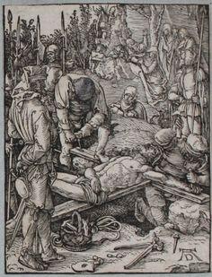Jésus attaché sur la Croix - B39 - Albrecht Dürer - Figurae Passionis Domini Nostri Iesu Christi - Petite Passion