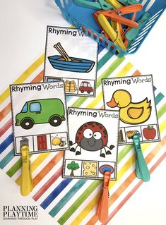 Find & Clip the Rhyming Word. - June Morning Tubs Summer Worksheets, Preschool Worksheets, Preschool Activities, Counting Activities, Educational Activities, Rhyming Pictures, Kid Check, Rhyming Words, Kindergarten Class