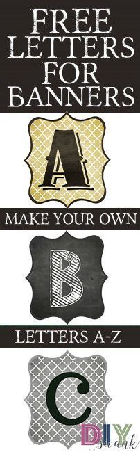 DIY Printable Banner. Free Printable letters to make banners. Several designs to choose from.