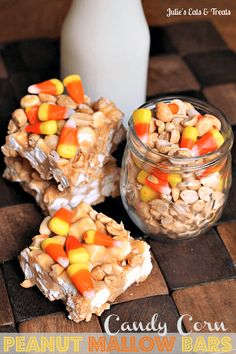 Looking for Halloween themed food recipes? Why not try these Candy Corn Peanut Bars. It's Loaded with marshmallows, candy corn and peanuts the perfect combo of sweet and salty! Save this homemade candy corn recipe for later! Want more family dessert recip Halloween Themed Food, Halloween Desserts, Halloween Candy, Halloween Foods, Easy Halloween, Fall Desserts, Halloween Stuff, Corn Recipes, Fall Recipes
