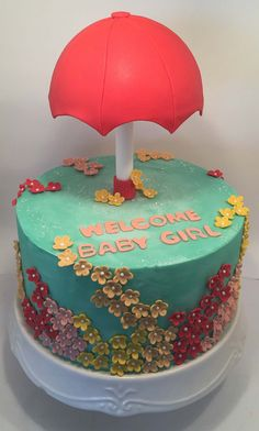 Umbrella Cake | Little Delights Sweet Cakes, Cute Cakes, Foundant, Mom Cake, Cake Pictures, Awesome Cakes, Occasion Cakes, Edible Art, Let Them Eat Cake