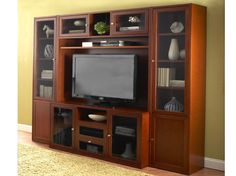 Dania Royal Media Cabinet, Hutch, and 2 bookcases.  But in Venge dark wood with glass doors. RL-765, RL-871, 2 x RL-832.