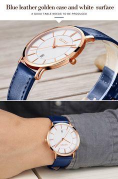 OLEVS Ultra thin Fashion Male Wristwatch Leather Watchband Business Watches Waterproof Scratch-resistant Men Watch Clock G5869P - Men Watch, Daniel Wellington, Watch Bands, Watches For Men, Clock, Mens Fashion, Business, Leather, Blue