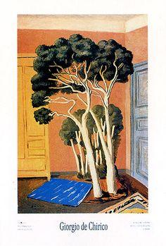 "Giorgio De Chirico, ""Les arbres dans la chambre"" Spanish Painters, Italian Painters, Strange Magic, Funky Art, Weird Pictures, Surreal Art, Artist Art, All Art, Painting & Drawing"