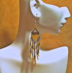 Native American Style Gold, Black, Purple Beaded Fashion Earrings by WigWamCrafts for $15.00