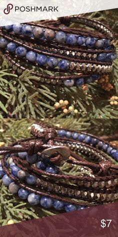 4X Wrap Bracelet Azure Blue and Silver Toned Beads NEOT. Wear this bracelet solo or with your other favorite bracelets. Round blue stones and silver toned beads. Bundle with my other items for a discount and to save on shipping. Jewelry Bracelets