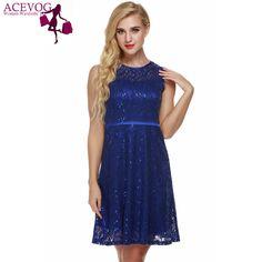 ACEVOG Women Sleeveless Lace Casual Dress summer A-line Dress With Lining Women sexy Vestido De Festa Femininos Sequin dress