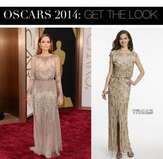 Angelina Jolie Oscar 2014 Dress vs. Camille La Vie Beaded Blouson Prom Dress