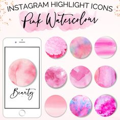 Pink Watercolor Instagram Highlight Covers   Social Media Icons   Instagram Story Icons   Covers For Instagram   Watercolor Circles   Pink Instagram   Instagram Highlights   Instagram Icons #instagramhighlights #watercolourcircles #pastelinstagram #instagramicons #instagramcovers #highlightcovers #instagramtemplates #watercolorinstagram #brandbundle Pink Instagram, Instagram Tips, Instagram Story, Watercolor Circles, Pink Watercolor, Instagram Hastags, Handmade Market, Social Media Icons, Instagram Highlight Icons