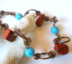 Turquoise Colored and Red Stone Bead Spiral Copper Links Necklace