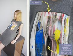 Embellishment and Painterly Prints at NIHL | The Cutting Class. NIHL by Neil Grotzinger, Graduate Collection, SS14, Image 2. Frame detail and blended screen printing pigments.