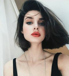 She had blue/gray eyes that at similar time froze you in your tracks but attracted you want a magnet. She had her black hair nearly to her shoulders and plump lips painted a shade Trendy Hairstyles, Bob Hairstyles, Pixie Haircuts, Asian Hairstyles, Hair Inspo, Hair Inspiration, Natural Hair Styles, Short Hair Styles, Bob Styles