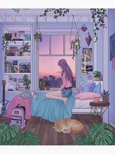 aesthetic bedroom Ease, an art print by Kelsey Smith bedroom anime Anime Scenery Wallpaper, Aesthetic Pastel Wallpaper, Aesthetic Anime, Aesthetic Art, Bedroom Drawing, Japon Illustration, Creation Art, Aesthetic Bedroom, Kawaii Art