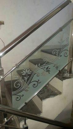 Jjj Balcony Glass Design, Glass Balcony Railing, Window Glass Design, Frosted Glass Design, Glass Stairs, Steel Railing Design, Staircase Railing Design, Home Stairs Design, Railings