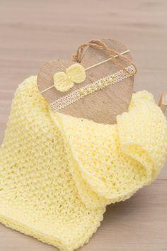 SET Knit Newborn Soft Yellow Wrap and 2 Handmade Ivory Yellow Tiebacks / Cotton Lace Ribbon Pearls Tieback and Crochet Yellow Bow Headband by SoftButterflyKiss on Etsy