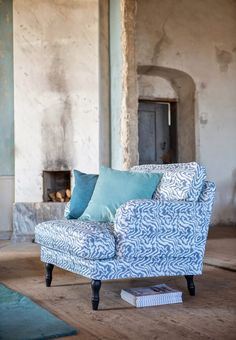 Perfect spot for a good read. Stocksund armchair cover in Zinc Grey Betula. Cushion covers in Mineral Blue Panama Cotton and Teal Blue Tegnér Melange. www.bemz.com