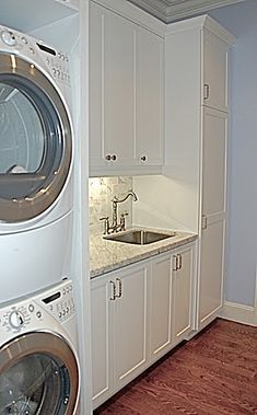 Laundry Room Stacked and Sink