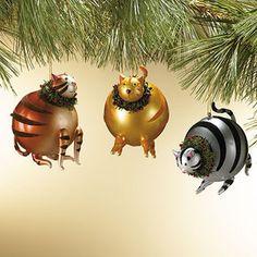 Blown Glass Striped Cat Ornaments