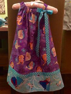 Frozen print pillowcase dress. Made by Arthur Peanut.