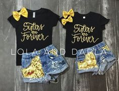 Sisters are Forever Toddler and Girls Sparkle T Shirt in gold sparkle