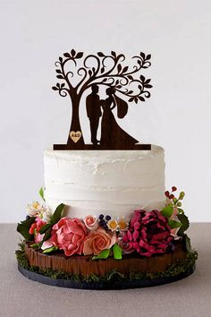 Excited to share the latest addition to my #etsy shop: Tree Wedding Cake Topper Personalized Monogram Cake Topper Wooden Rustic Cake Silhouette Cake Topper topper