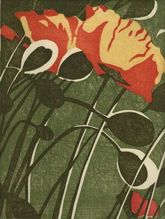 Annette Haines: Poppies by Moonlight, woodblock print done in Moku Hanga style