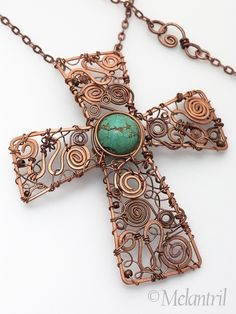 Freeform - Beautiful copper wire cross w turquoise center bead Lacroix by Melantril Copper Jewelry, Wire Jewelry, Jewelry Crafts, Beaded Jewelry, Handmade Jewelry, Copper Wire, Jewellery, Hammered Copper, Jewelry Ideas