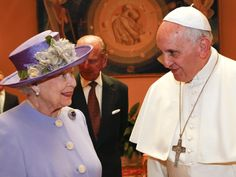April 3, 2014: Queen meets Pope Francis at the Vatican. She wears this brought for the first time publicly. It was previously n her mother's collection. The Russian Sapphire Brooch.