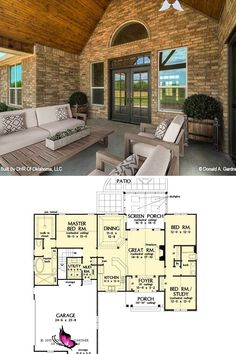 3-Bedroom Single-Story The Primrose Home (Floor Plan)  <br> Stone House Plans, House Plans One Story, Ranch House Plans, Craftsman House Plans, Country House Plans, Small House Plans, House Floor Plans, Colonial Cottage, White Shiplap Wall