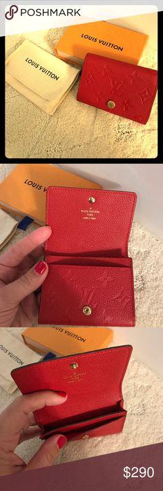Spotted while shopping on Poshmark: NIB -LOUIS VUITTON red leather card case.! #poshmark #fashion #shopping #style #Louis Vuitton #Handbags