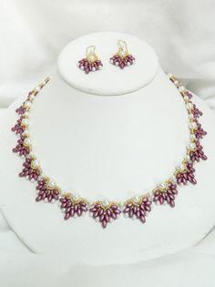 """Handmade Swarovski Beaded Necklace Set, Beaded Swaraovski necklace, SuperDuo necklace, Clip earrings - """"Enchanted Necklace Set"""""""