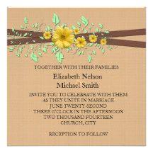 Gerbera Daisy Coral Damask Wedding Invite
