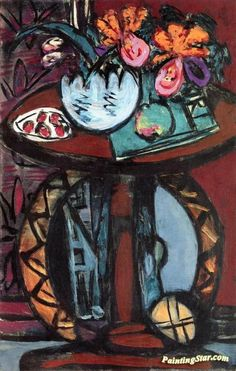 Still Life with Orange-Pink Orchids Artwork by Max Beckmann Hand-painted and Art Prints on canvas for sale,you can custom the size and frame