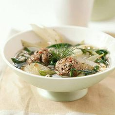 Italian Wedding Soup - Italian wedding soup gets its name from the marriage of meat and greens. Use lean ground beef, pork, or lamb. Diabetic Slow Cooker Recipes, Crockpot Recipes, Healthy Recipes, Diabetic Soups, Healthy Soups, Italian Wedding Soup Recipe, Vegetable Soup Recipes, Slow Cooker Soup, Slower Cooker