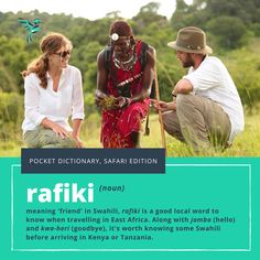 Ever wanted to learn a new language? Try our pocket dictionary for a guide to words you need to know on safari in Africa. Rafiki means friend in Swahili. Finf out more words to increase your safari vocabulary here. #explorer #explorersafari #africa #language #friend #lionking #disney #rafiki #baboon #swahili #safaritips #lingo #adventure #africansafari #kenya #tanzania #africanlanguage #definition #pocketdictionary #exploreafrica #travel #travelinspo #safarilingo #didyouknow #dyk #vocab Tanzania, Kenya, Private Safari, Mean Friends, Wildlife Safari, Learn A New Language, Baboon, More Words, African Safari