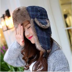4fc4002eca0 Womens plaid bomber hat for winter warm thick hats