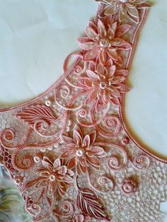 Irish lace, crochet, crochet patterns, clothing and decorations for the house, crocheted.Оh My Textured Embroidery in Pink Ribbon Freeform Crochet, Crochet Motif, Crochet Flowers, Crochet Lace, Crochet Stitches, Irish Crochet Patterns, Lace Patterns, Crochet Designs, Russian Crochet
