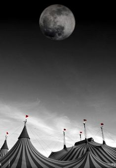 The circus is coming. The moon shines light on the tent, the tents the secrets, the players of the game , where the secrets are hidden. Dark Circus, Circus Art, The Circus, Circus Tents, Nocturne, Le Bateleur, Circus Aesthetic, Book Aesthetic, Night Circus