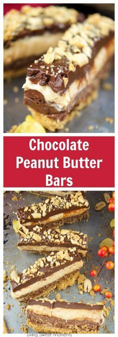 This crunchy No Bake Chocolate Peanut Butter Bars recipe have 4 layers of decadence. Enjoy peanut butter mousse, cookie base and chocolate ganache. More dessert recipes at livingsweetmoments.com via @Livingsmoments