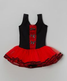 82932d4f5 Look at this  zulilyfind! Red  amp  Black Bow Skirted Leotard - Infant