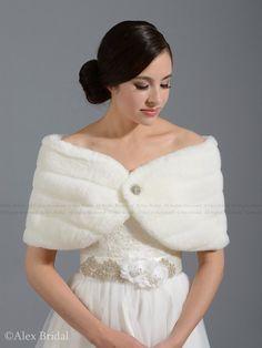 Ivory faux fur wrap bridal shrug stole shawl FW001-Ivory regular / plus size on Etsy, $49.99