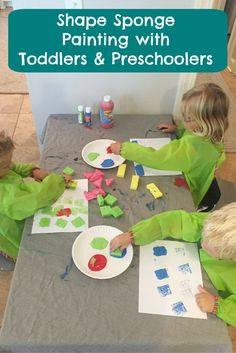 Sponge painting with little ones is always a hit. This simple activity is great for shape recognition with toddlers and preschoolers.