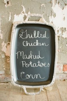 silver serving tray turned into a chalkboard menu - love this!